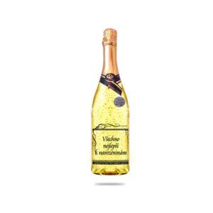 Šumivé víno se zlatem s dárkovou krabicí - Všechno nejlepší k narozeninám